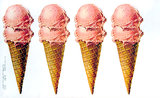 American Die Cut - Strawberry Ice Cream Cones