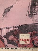 Go Greyhound Bus Niagra Falls (Pink)