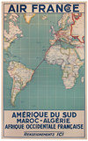 Air France Amerique De Sud Maroc-Algerie Map