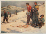 French Skiers/ Snow Scene (Decorative/No Text)