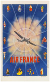 Air France 1/4 Sheet (TurboProp & Traditional Folk in Costumes)