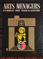 Arts Menagers (Black Background/ Yellow Wind-up Helper) 47x63