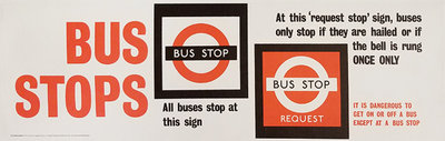 London Underground Panel Bus Stops All Buses Stop at This Sign