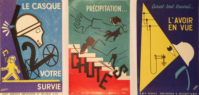 Set of 3 French Safety Small Format Posters