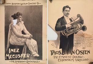 Lot of 2 Damaged Turn of the Century Musician Posters (Inez Mecusker / Thos. D. Van Osten)