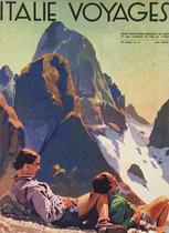Italie Voyages (Magazine Cover, Resting Hikers in the Alps)
