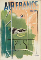 Air France Revue (In Flight Magazine Cover, Green & Peach)