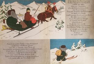 Babar Book Page Illustration - Skiing