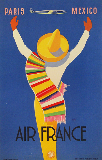 Air France Paris  Mexico  1/4 Sheet