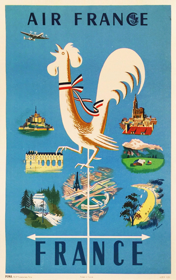 Air France Rooster Weather Vane 1/4 Sheet