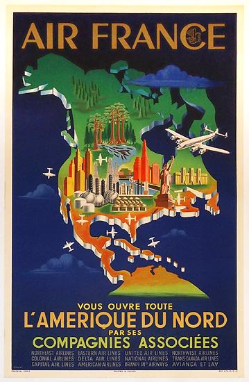 Air France - L'Amerique Du Nord (Blue Map)