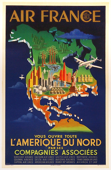 Air France - L'Amerique Du Nord (Blue Map)