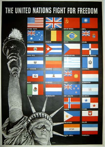 United Nations - Statue of Liberty and Flags