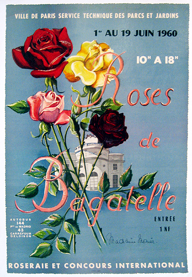 Roses de Bagatelle 1960 (Red and Yellow Roses Blue Background)