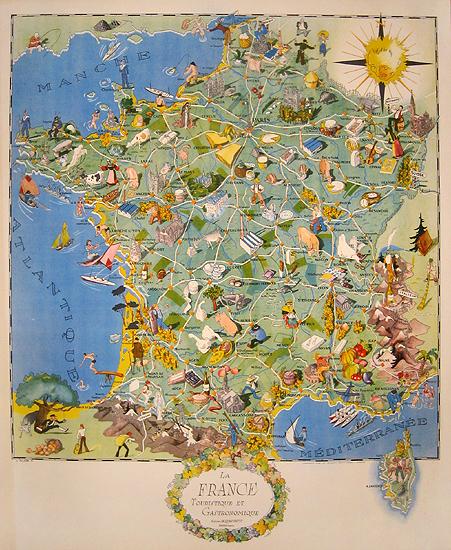 La France Touristique et Gastronomique Map