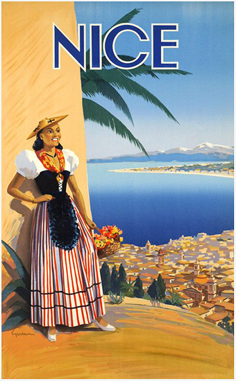 Nice (Woman in Regional Costume and Coastline Vista)