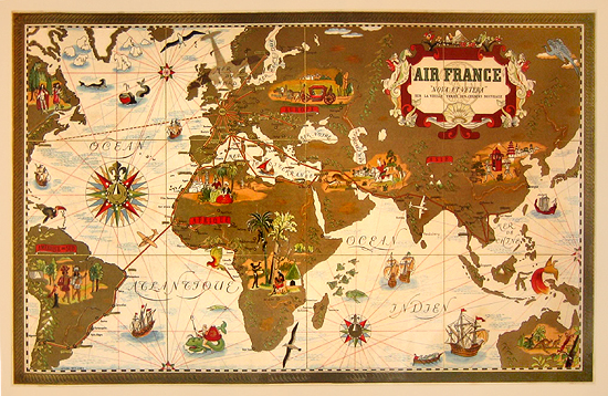 Air France Route Map (White) 1/4 Sheet