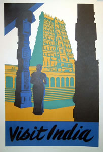 Visit India (Blue/Green/Gold)