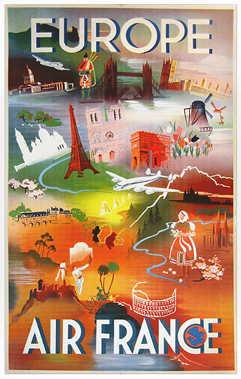 Air France - Europe (Colorful Vignettes) 1/4 Sheet