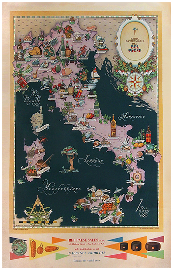 Carpano/Bel Paese - Gastronomical Map of Italy (Food Map)