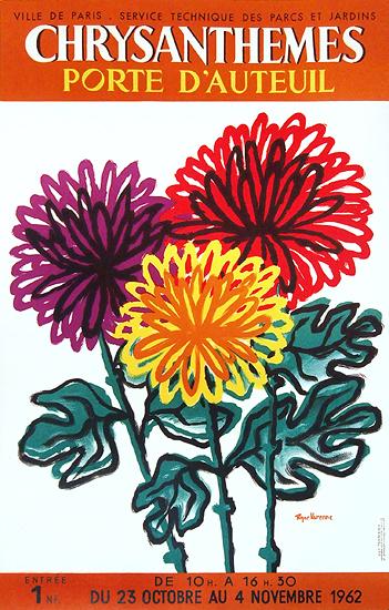 Chrysanthemes Porte D'Auteuil 1963 (Orange, Purple, Red)