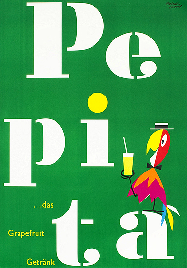 Pepita (Green, White Letters,  with Parrot)