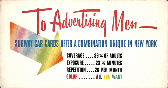 Mini Subway Car Card <br>No. 01 - Advertising Men