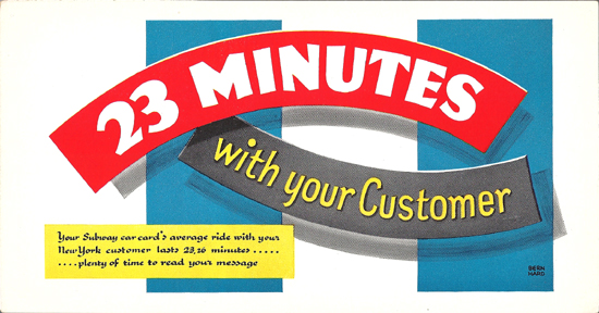 Mini Subway Car Card <br>No. 10 - 23 Minutes With Your Customer
