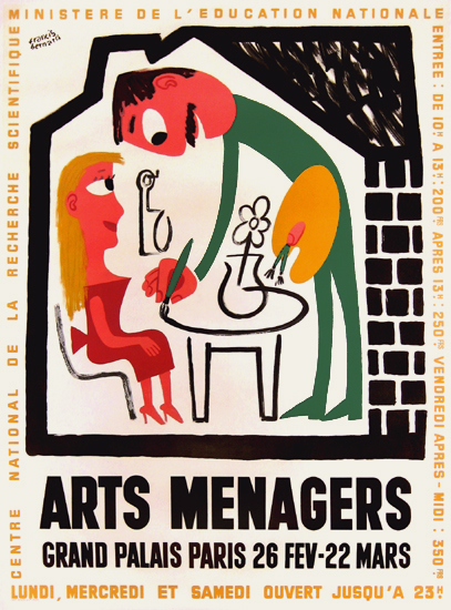 Arts Menagers (Couple in House/ Green & White) 47x63