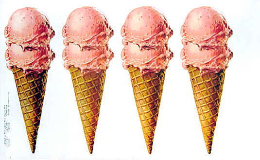 American Die Cut- Strawberry Ice Cream Cones