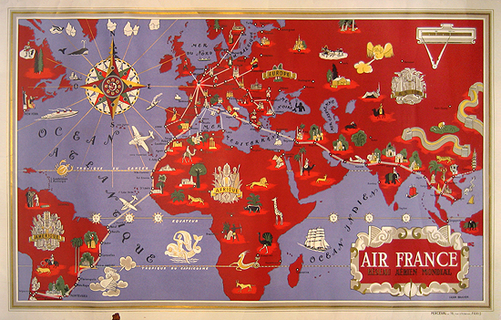 Air France Route Map (Purple/Red)