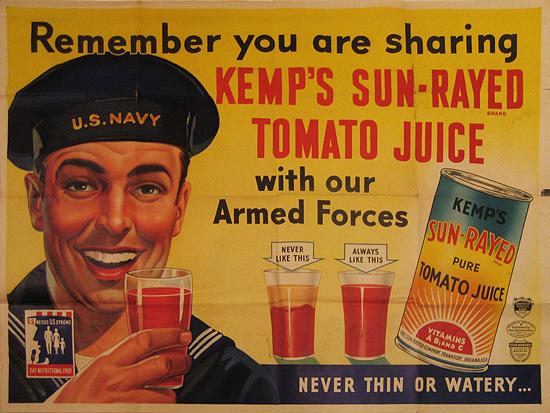 Kemp's Sun-Ray Tomato Juice (US Navy)