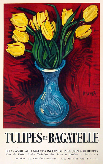 Tulipes de Bagetelle (Yellow & Red with Blue Vase)