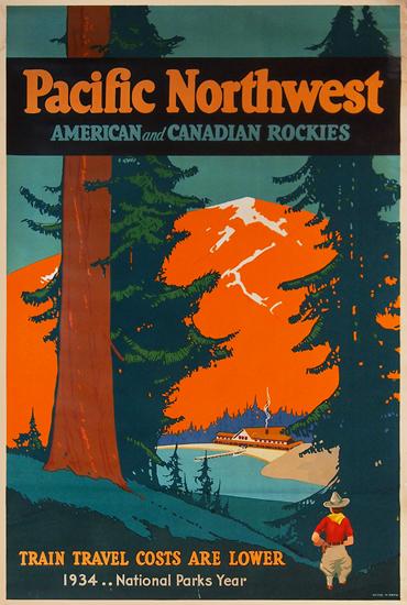 Pacific Northwest - National Parks Year 1934 (Orange)