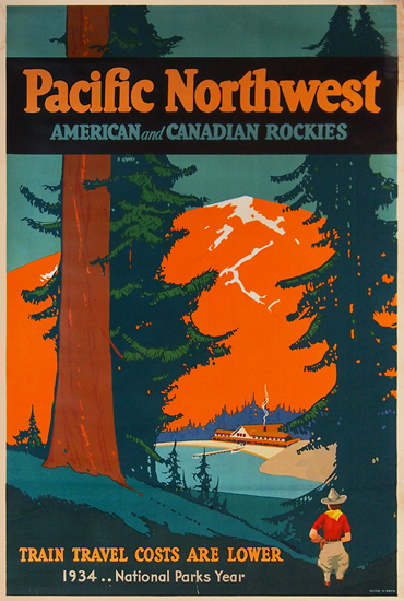 Pacific Northwest - National Parks Year 1934 (Orange)