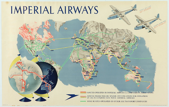 Imperial Airways Route Map (Horizontal)