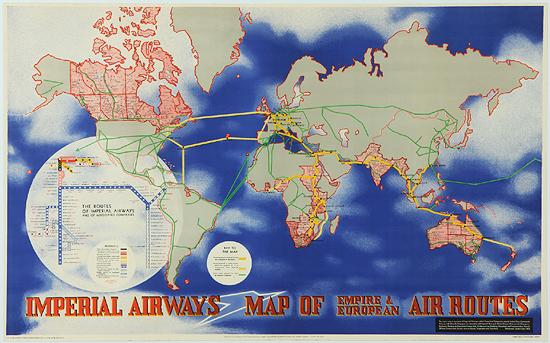 Imperial Airways Horizontal Map (Blue)