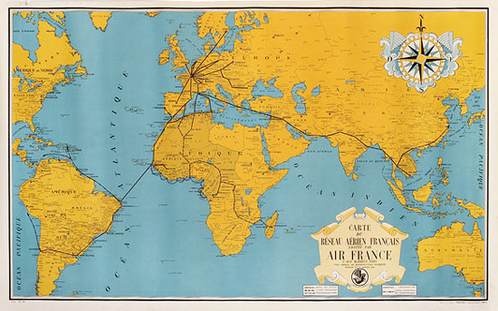 Chisholm Poster - Air France Route Map Yellow