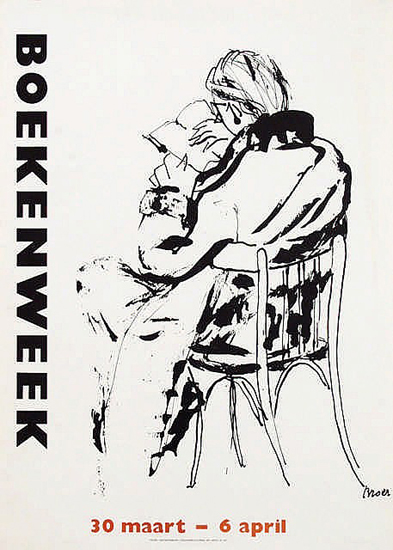 Boekenweek (Black and White/ Reader in a Chair)