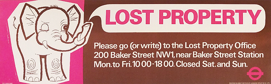 London Underground Panel Lost Property