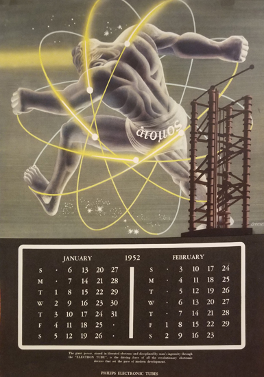 Philips 1952 January February Calendar Page