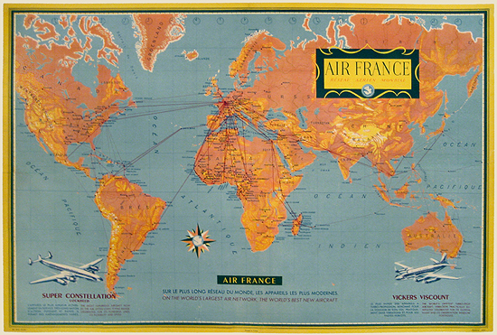Air France - Route Map (Orange - World Map)