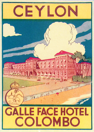 Ceylon Galle Face Hotel Colombo LUGGAGE LABEL