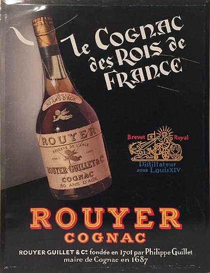 Cognac des Rois de France Rouyer Cognac (Tin Sign)