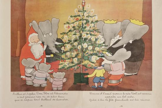Babar Book Page Illustration Christmas Tree