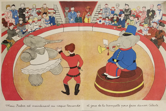 Babar Book Page Illustration Circus