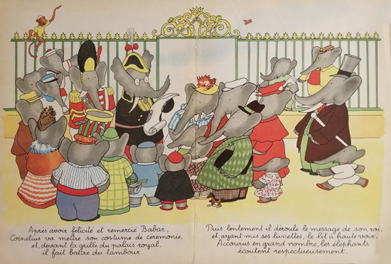 Babar Book Page Illustration Crowd