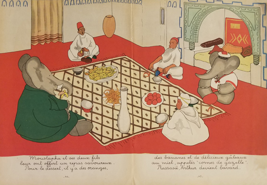 Babar Book Page Illustration Food with Friends