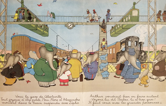 Babar Book Page Illustration Train Station