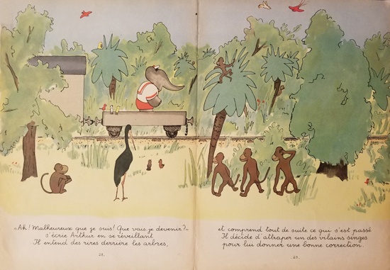 Babar Book Page Illustration Train